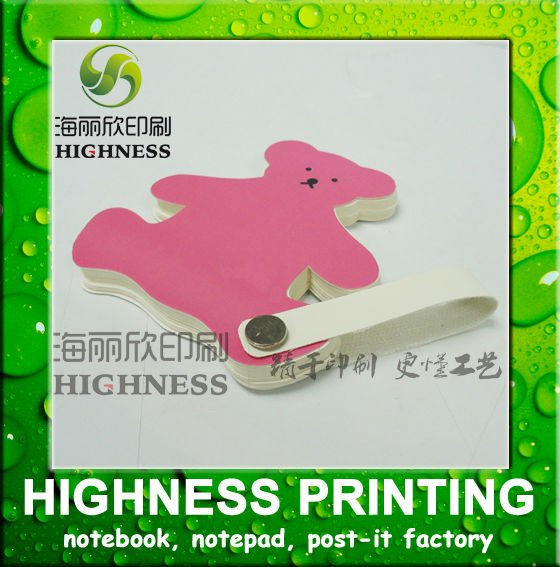 Notepad 90*90mm 50 sheets bear shape with hanger for gift and premium