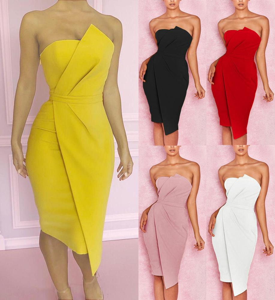 Polyester off shoulder sexy tube top wrapped chest irregular sheath dress for ladies фото