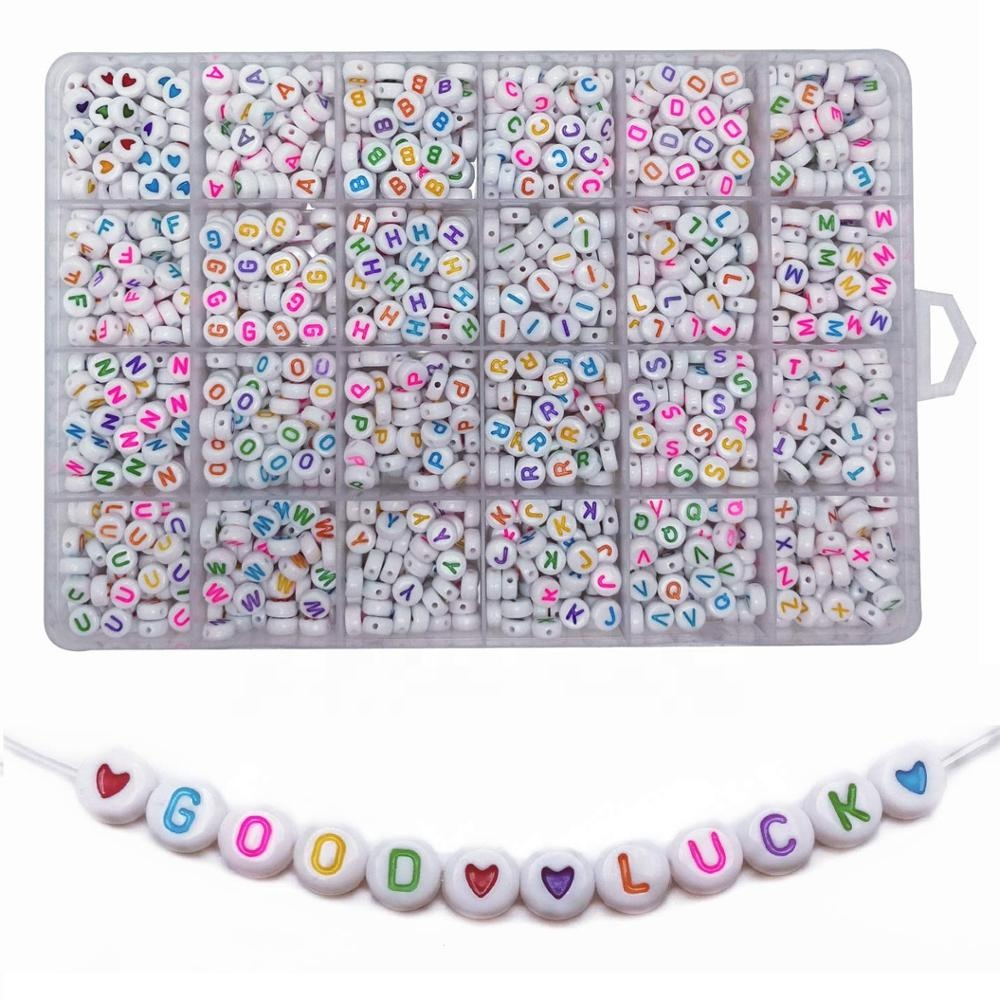 White Round Acrylic Letter Beads with Colourful Alphabet A-Z and Heart for Jewelry Making Bracelets Necklaces Key Chains