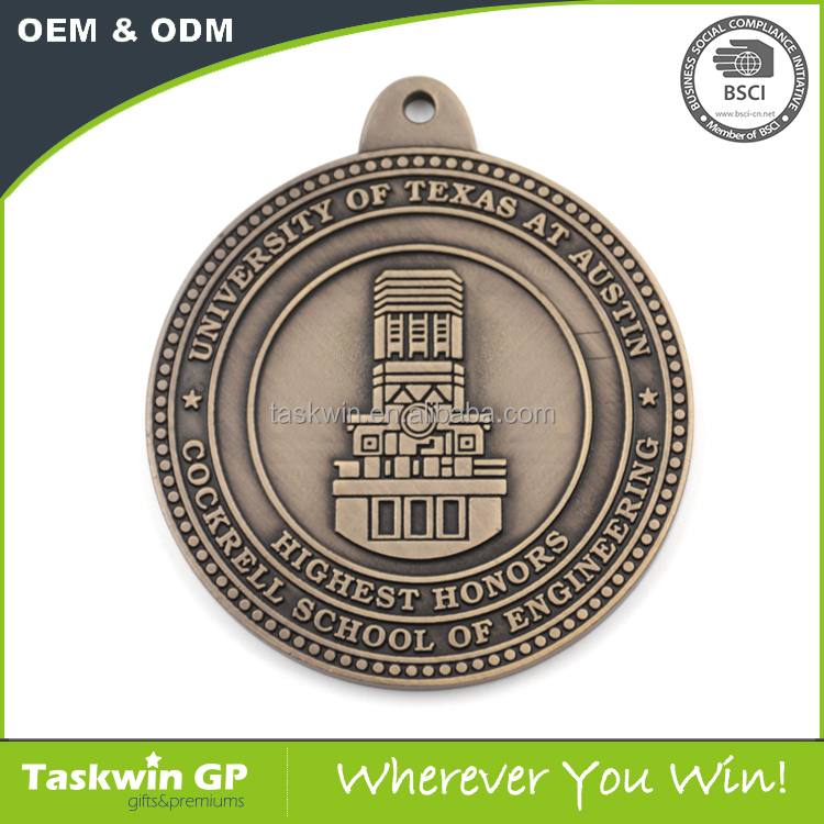 high quailty custom owl logo medal for gifts ,iron stemped medal with ribbon