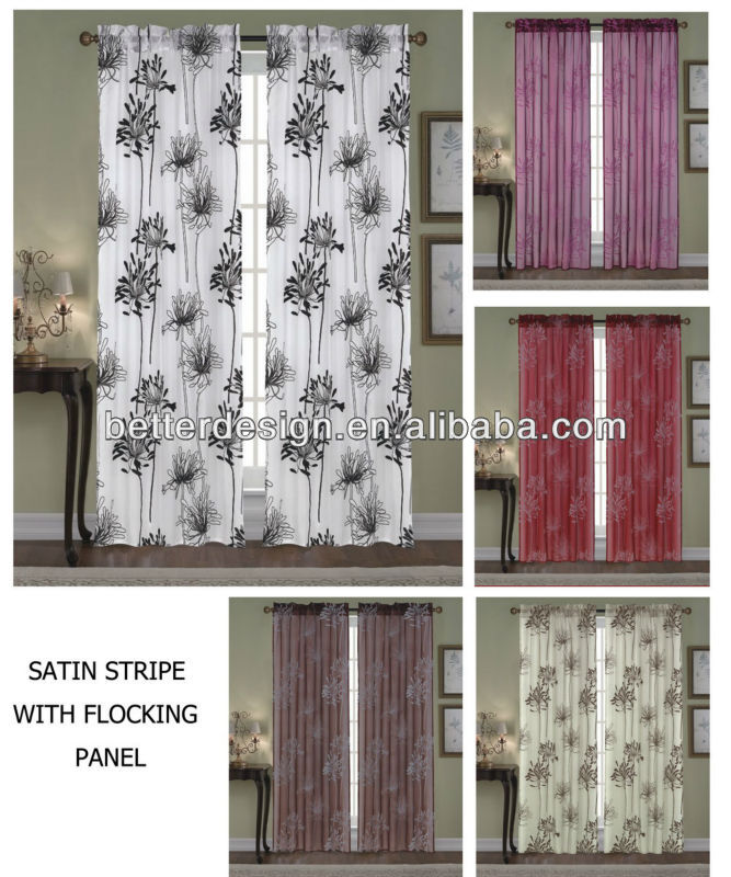 Curtain Design New Model Ready-made Panel Curtain With Flocking