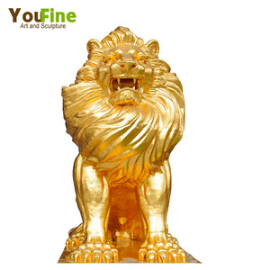Large Golden Brass Lion Statue