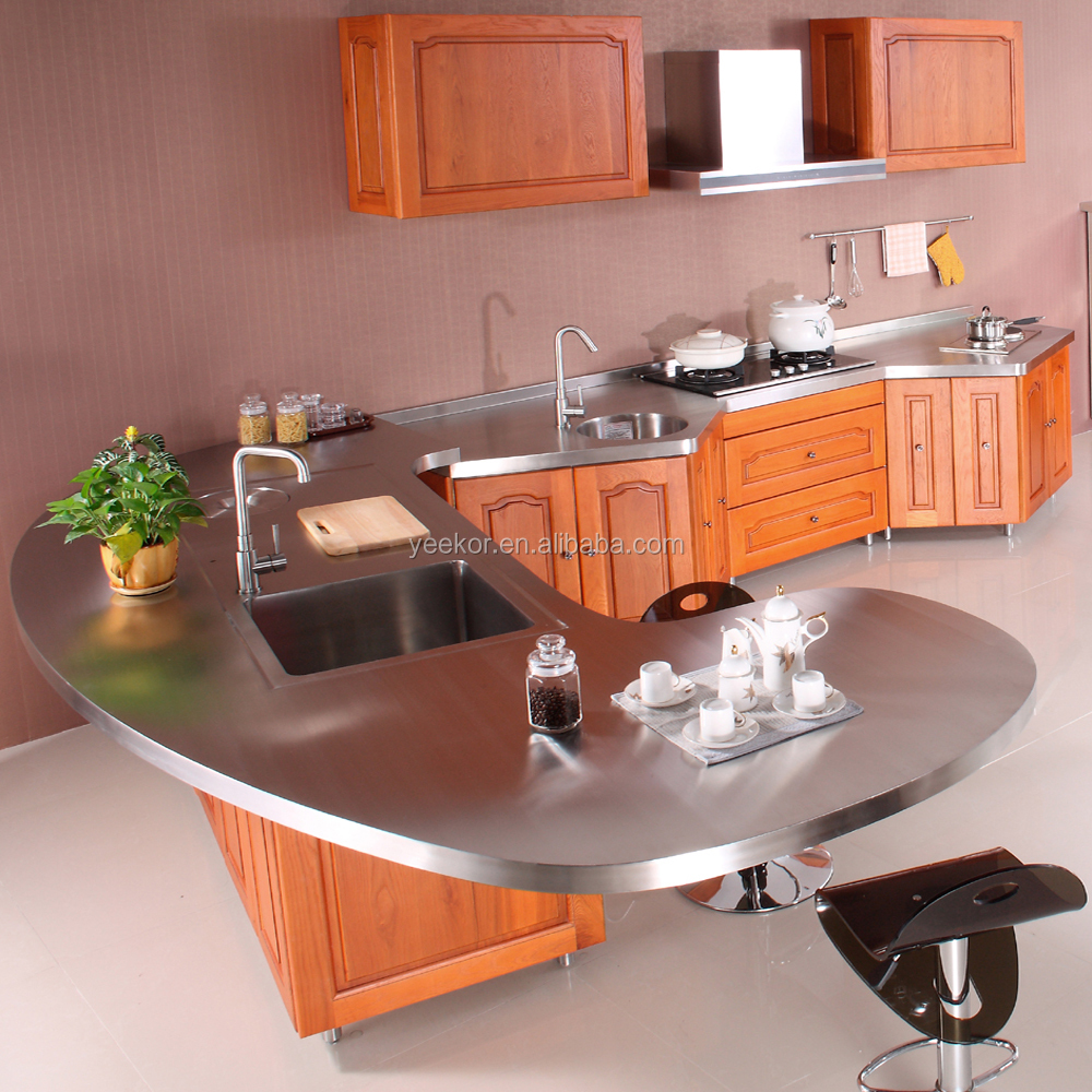 hotel project wood colour stainless steel kitchen sink cabinet with drawers