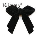 "Winter Big Black Navy Velvet 4"" Hair bow clip toddler girl Velvet hairbow Clip Medium Bows"