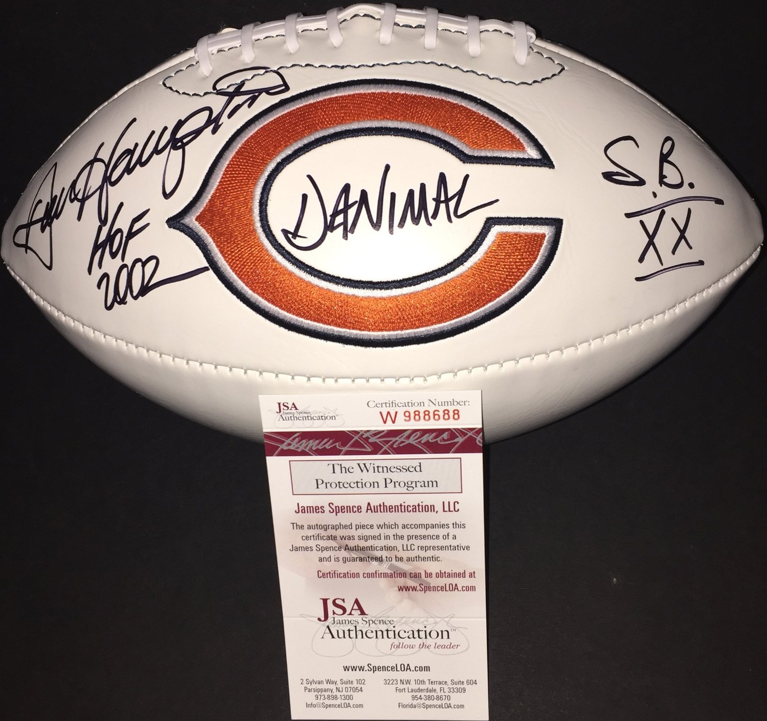 new style 75615 8d7e0 Buy Dan Hampton Chicago Bears Signed Autographed White ...