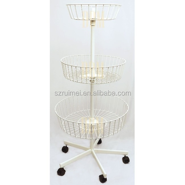3 Tier Basket Spinning Floor Stand Wheel Revolving Dump Bin Display Rack