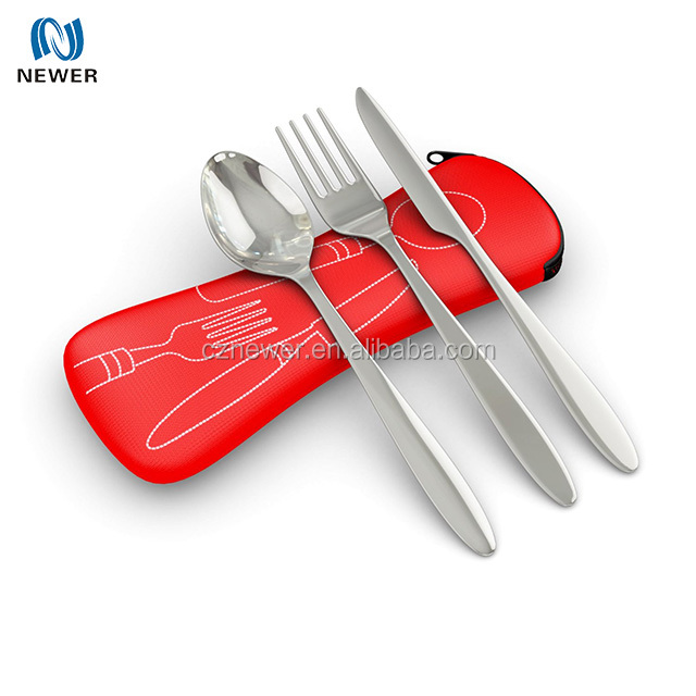 3 piece travel cutlery set outdoor camping neoprene fork pouch
