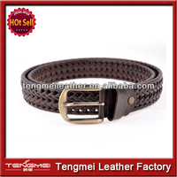 Special produce elastic genuine leather woven belts for women