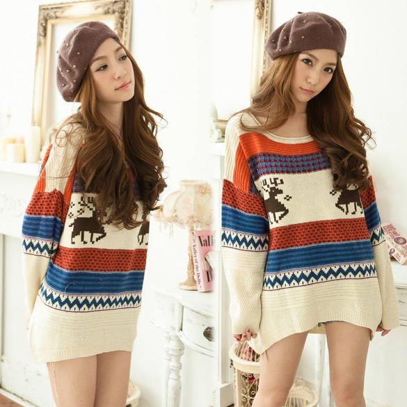Las mujeres sueltas suéteres puentes Top Deer pattern pullover rayas ...