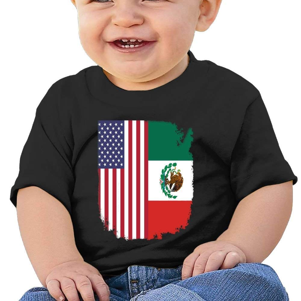 ae22bd4dfad Get Quotations · YUEskd Mexican American Flag Baby Boys Girls Summer Short  Sleeve Crew Neck T Shirts for 6