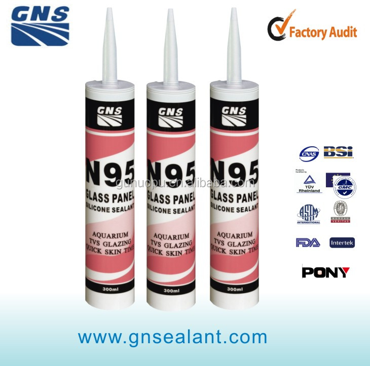 N95 acetoxy cure Glass Panel Sealant suitable for general glass and panel with good weathering resistance and quick skin time