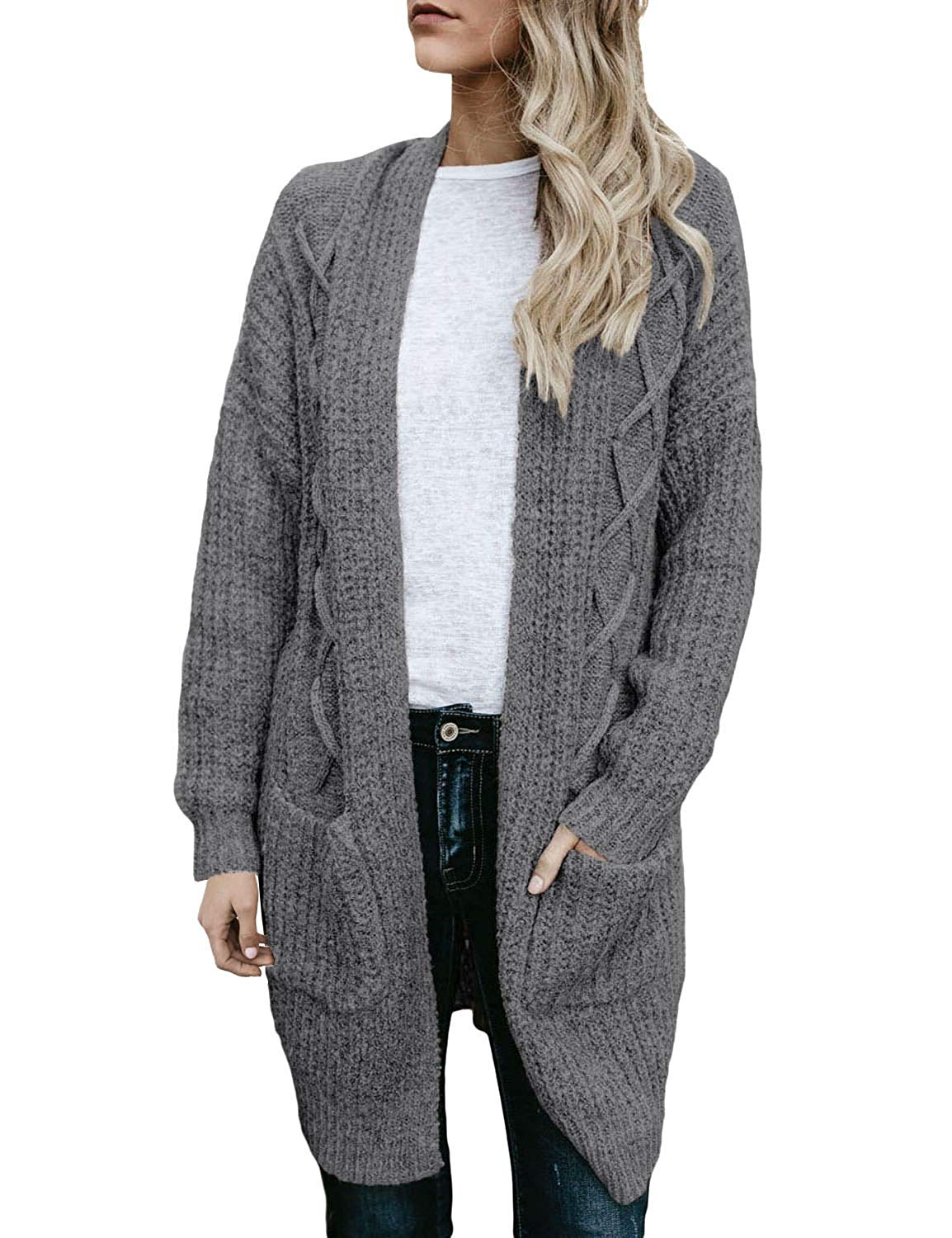 Utyful Women Casual Open Front Chunky Cable Knit Long Cardigans Sweater Pockets