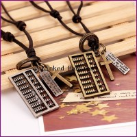 YiWu Factory unique men abacus pendent genuine leather necklace