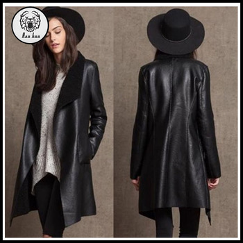 Women Fashion Long PU Leather Coat Fleece Double Wear Trench Coat Faux Leather  Black Long Jackets 45744be67014