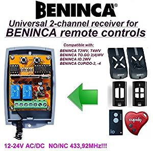 Beninca compatible receiver. 2-channel universal receiver for BENINCA T2WV, T4WV, TO.GO 2(4)WV, IO.2WV, CUPIDO 2, CUPIDO 4 remote controls. 12-24V AC/DC, NO/NC 433.92Mhz rolling / fixed code