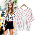 2018 Unicorn summer new vertical stripes before and after double V collar cotton shirt bat wings short sleeve loose women