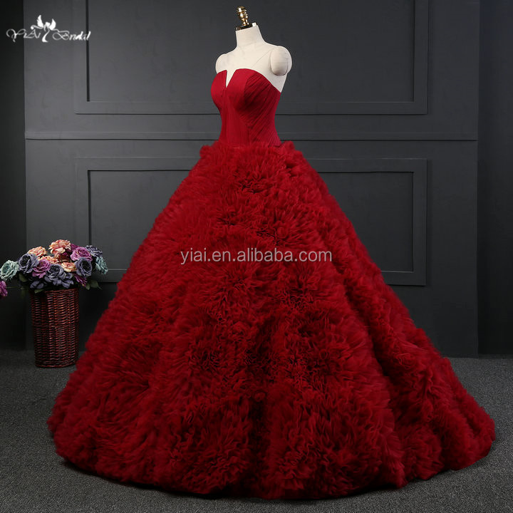 RSW1057 Puffy Tulle Ruffles Luxury Red Ball Gown Wedding Dresses
