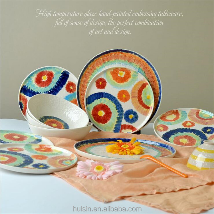 Popular hand painted colorful stoneware 16 pieces embossed unique shaped ceramic mug bowl plate dinnerware set