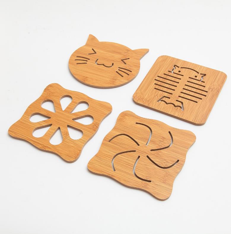 Wholesale Cheap Cute Tea Coffee Bamboo Coaster / Beer Cup Mat With Custom Logo