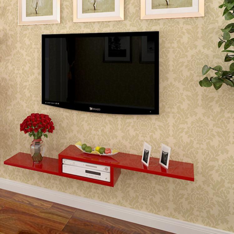 stylish modern minimalist tv wall separator shelf ikea tv set top box rack shelf special offer. Black Bedroom Furniture Sets. Home Design Ideas