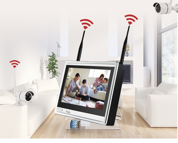 Wholesale 12inch monitor cctv kit_wifi home control system 8ch_ h.265 nvr kits outdoor surveillance use