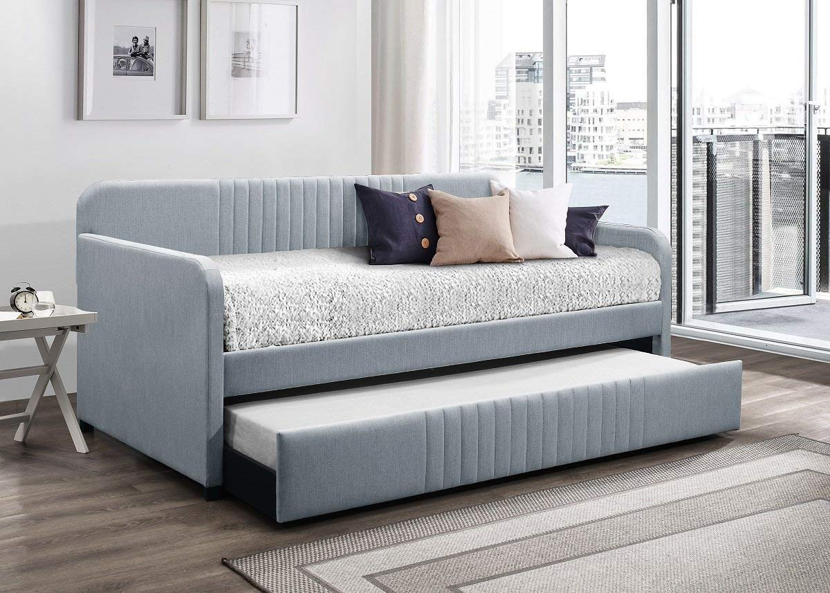 Home Design Amelia Upholstered Daybed With Trundle (Light Blue)