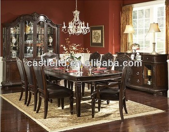 Unique Original Luxury Dark Cherry Carved Dining Set With Buffet And