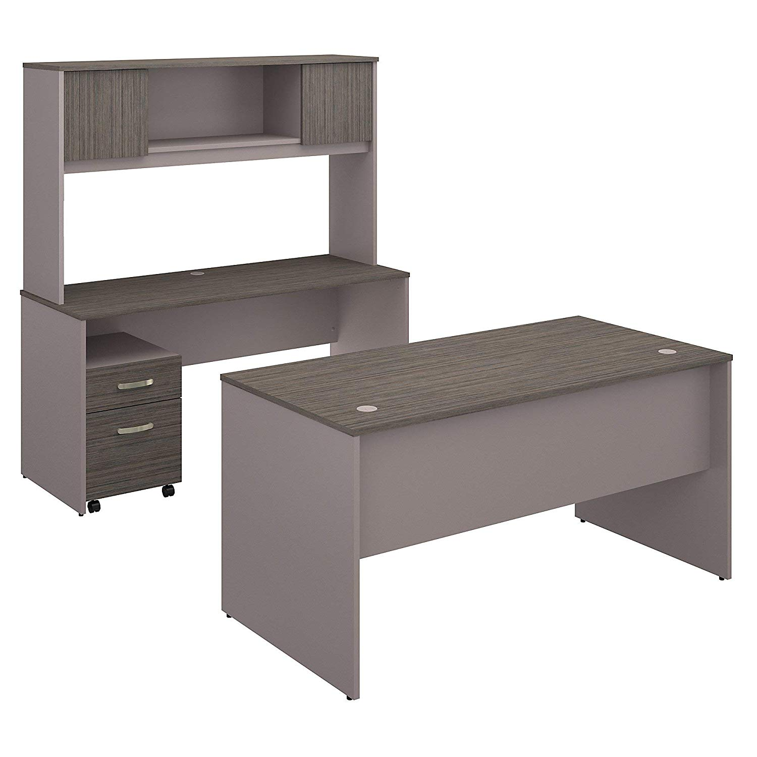 Bush Furniture Commerce 60W Office Desk with Credenza, Hutch and Mobile File Cabinet in Cocoa and Pewter