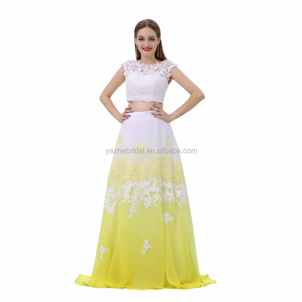 9b706dbce37 Free Shipping-2017 Real Photo Two Piece Yellow Chiffon Applique Long  Women s Summer Beach Prom Dress