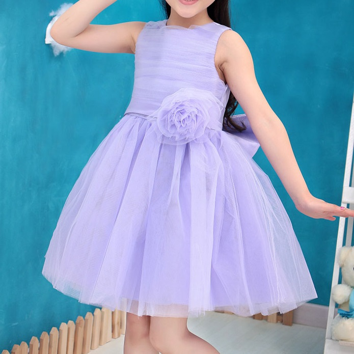 Girl party dress with Bow Flower Lavender color Elsa Princess dress for wedding birthday holiday wear