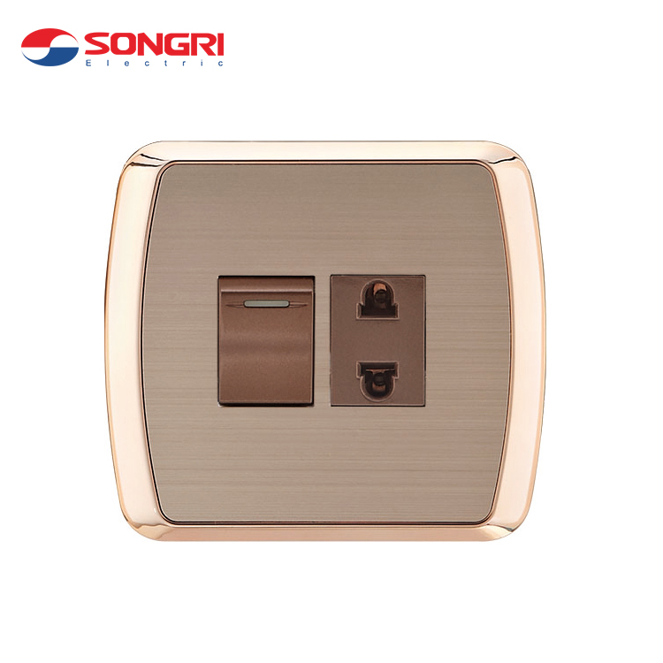Songri 16A load 250V universal 2 pin wall electrical socket with switch