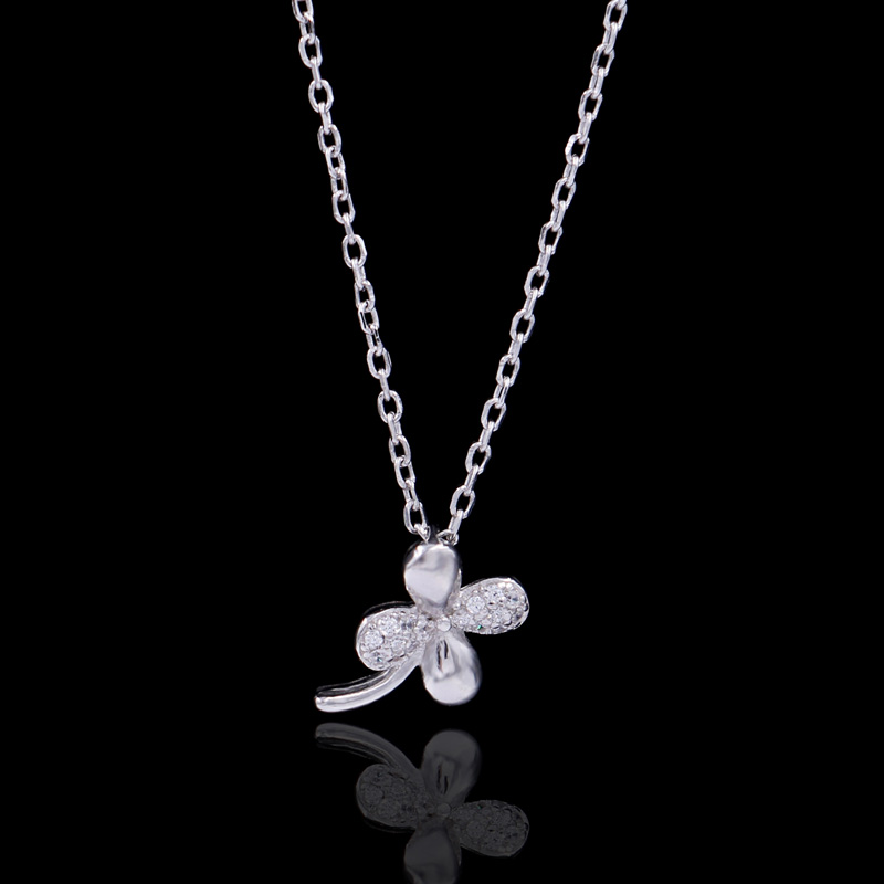 Making machine elegant silver jewelry four leaf pendant necklace