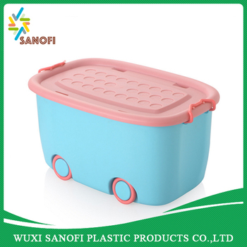 Kids Toy Storage Box With Wheels Cute Plastic Storage Box Sundry Container
