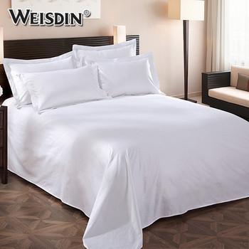 Wholesale 300tc White Plain Luxury Hospital Sheets Bed Bedding Set