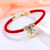 klq012 Huilin wholesale Clever pig plated 18K gold pig bracelet hollow 3D heart-shaped tail chain female zodiac year