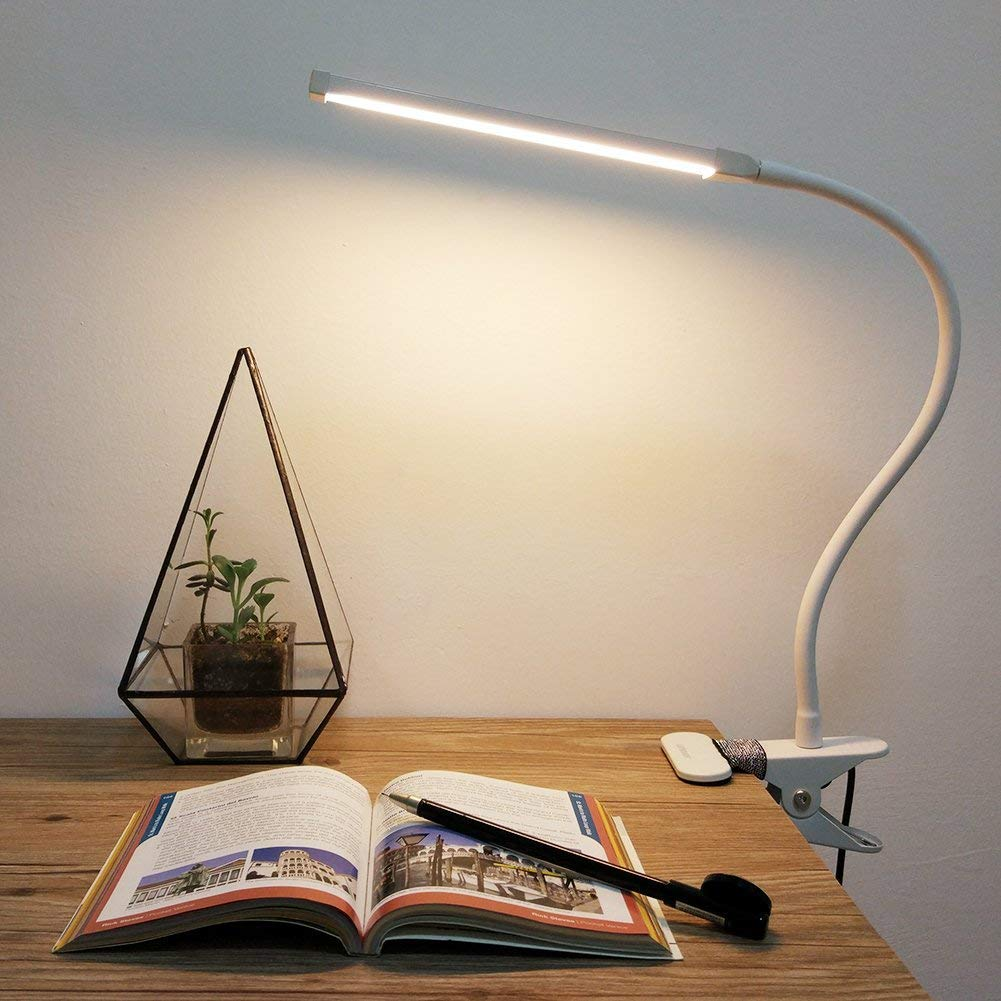 Gesenie LED Clamp Reading Light Study Lamp Desk,11 Level Dimming,3 Lighting Modes,Dimmable Eye Care Book Light Night,Flexible Gooseneck Office Task Lamp Bedroom Bedside White