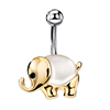 Lucky Elephant Silver Gold Plated Cat's Eye Jewelled Navel Ring Piercing Body