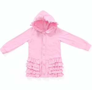 Hot sale children Fall Winter custom Color Clothes Coat wholesale cardigan Boutique 100% knit cotton Baby Girl Pink Ruffle Coats