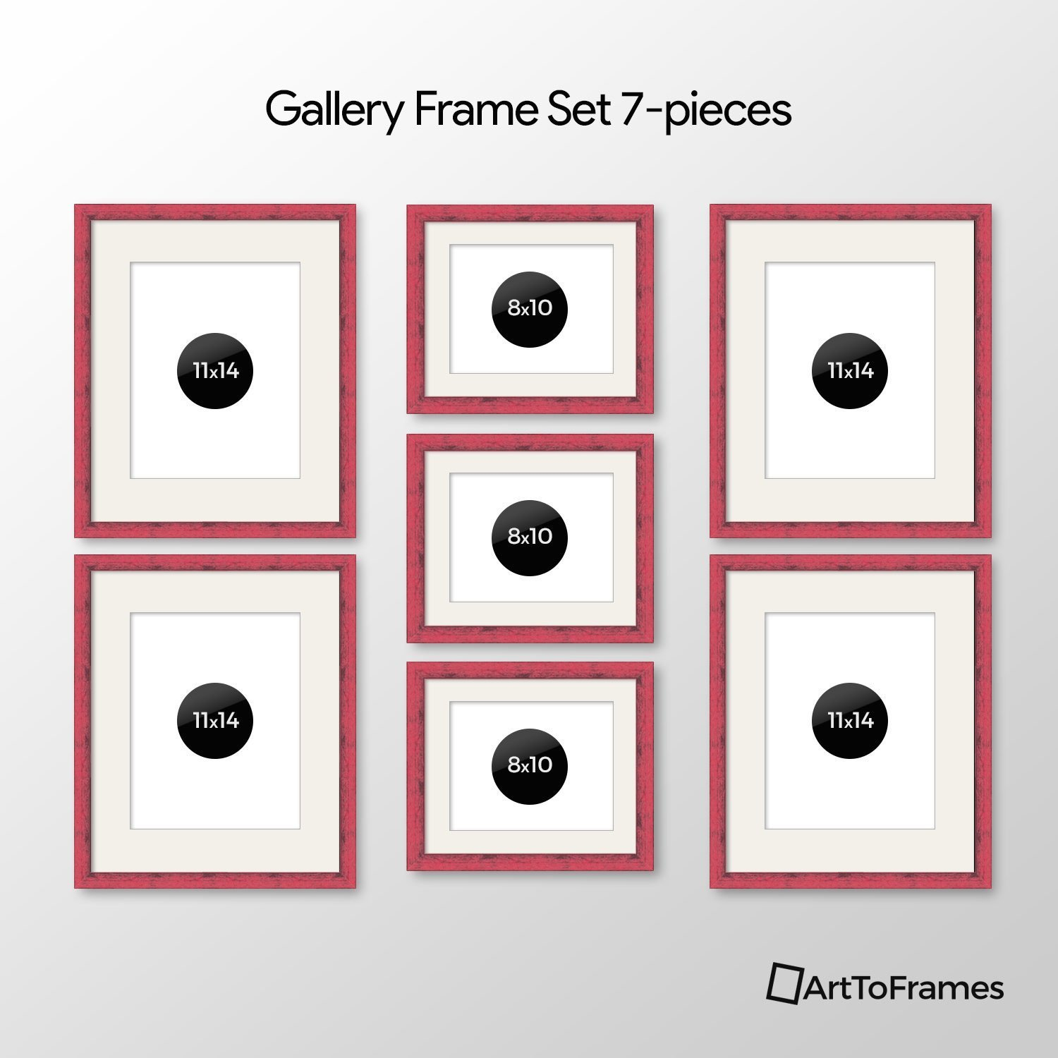 Buy ArtToFrames Picture Frame 7 Piece Wall Set, (4) 14x11, (3) 10x8 ...