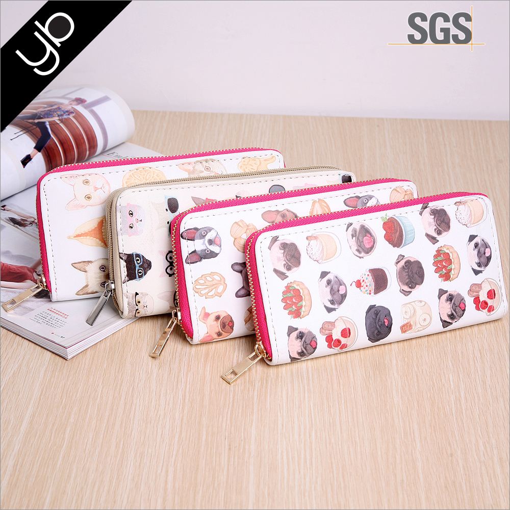Wholesale stylish cute animal printed custom lady credit card leather wallet with metal zip