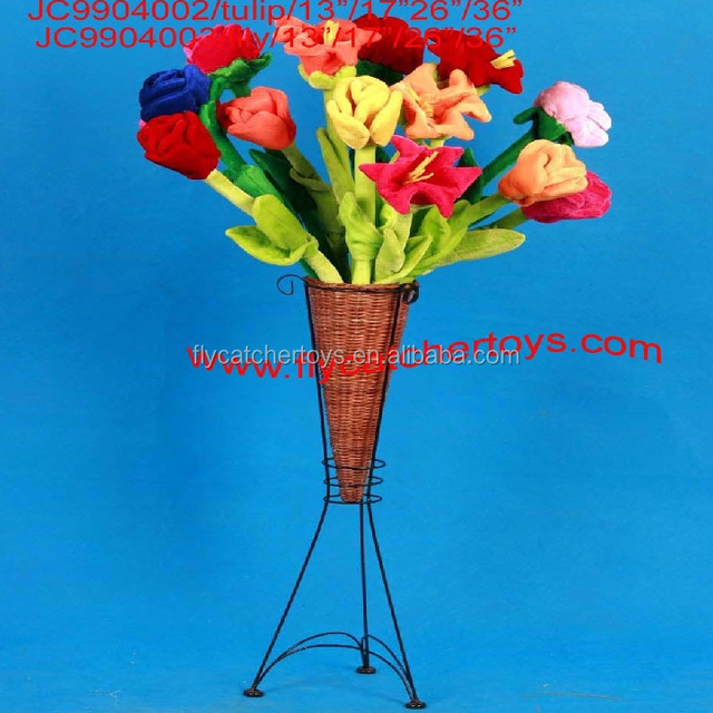 Factory direct colorful plush tuli, lily, rose, and all kinds of flowers, it was widely using for home decoration