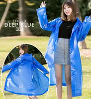 2018 Amazon EBAY High Quality 9 Colors Recyclable EVA Plastic Waterproof Hooded Raincoat