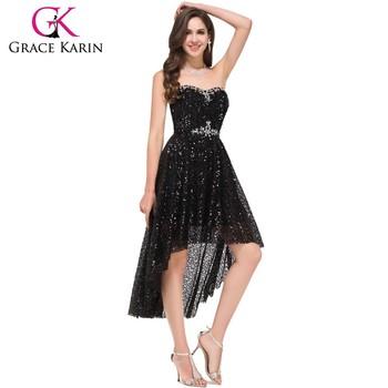 Grace Karin New Model Strapless High Low Black Sequins Free Black ...