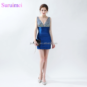 100% Real Sample Royal Blue Beads Short Prom Dresses 2018 Latest ...