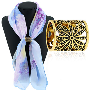 Fashion simple jewelry accessories vintage carved silk scarf ring scarf button