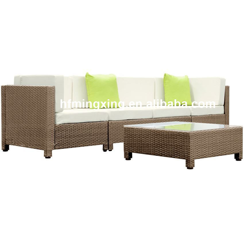 5 pcs Brown Wicker Rattan 4 Seater Outdoor Lounge Set