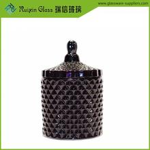 Wholesale black glass candle jar and lid,geo cut glass candle jar for promotion