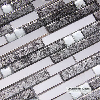 Shiny Strip Glass Mixed Backsplash Mirror Metal Mosaic Tile Buy Metal Mosaic Tile Backsplash