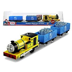 Fisher Price Year 2012 Thomas and Friends Greatest Moments Series 'Blue Mountain Mystery' Trackmaster Motorized Railway Battery Powered Tank Engine 3 Pack Train Set - RHENEAS' NEW COAT OF PAINT with Rheneas Engine, Blue Mountain Quarry Truck with Stone and Blue Mountain Quarry Truck (X0765)
