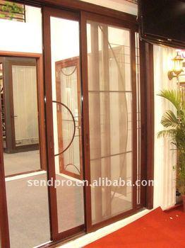 Color de madera de aluminio de doble cristal puerta - Puertas de aluminio color madera ...